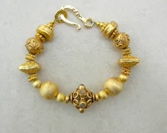 Exclusive Gold & Gemstone Bracelet, Gold Vermeil Beads and Clasp, Moonstone Focal Bead, Florentined Gold Beads, Bracelet by SandraDesigns