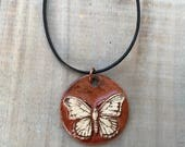 Rust Butterfly Necklace-Porcelain Jewelry-Kim OHara Designs-Ceramic Jewelry