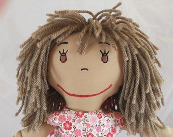 Tutu Rag Doll, embroidered face rag doll,light brown hair,Removable Clothes,Rag Doll,Fabric Doll, Stuffed Doll,Plush Doll