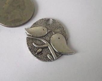 Bird Pendant Charms Silver Plate 3 piece set Component Destash