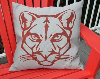 """Outdoor pillow cougar mountain lion puma panther 20"""" (50cm) hand painted pillow all weather carnivore Crabby Chris"""