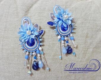 Sky blue Earrings, flower earrings, soutache earrings, embroidered earrings, Boho earrings, gift, hawaian earrings, gipsy boho earrings