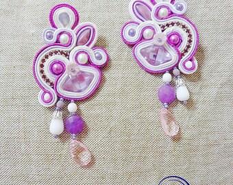 Purple earrings, Soutache chandeliers, soutache earrings, soutache jewelry, embroidered earrings, fibert art earrings, boho pink earrings