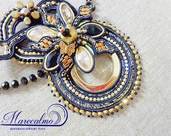 Elegant necklace, Soutache necklace, statement beaded necklace, fiber art necklace, crystals necklace, embroidered necklace, beaded necklace