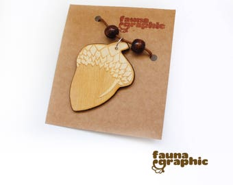 Acorn Necklace Lasercut Natural style druid