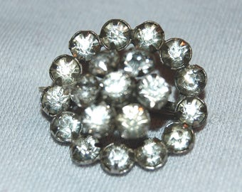 Domed Rhinestone Brooch, Clear  Sparkling, Vintage old jewelry