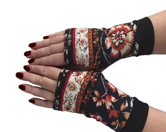 Fingerless gloves dark blue red  flowers  all  sizes Completely Lined with Cuffs