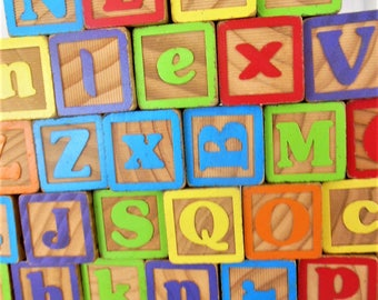 "46 large Alphabet Wooden Blocks, 1 3/4"",  letters & pictures"