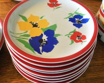 Block Anemone Colorful Flower Dinner Plates, lot of 3