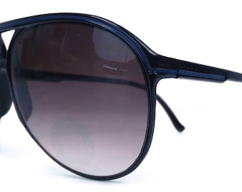 vintage 80s deadstock aviator sunglasses black plastic frame sun glasses eyewear men new classic traditional blue stripe purple gradient 182