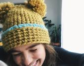 Pom Pom Hat- mustard