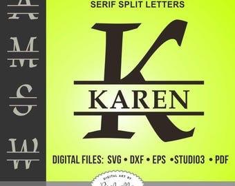 Classic Serif Split Monogram, Split Letter Alphabet, Split Font svg, dxf, eps, Studio3, PDF, Silhouette cut files, vector
