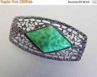 ON SALE Vintage 1930's Art Deco Rhodium Plated Green Peking Glass Brooch
