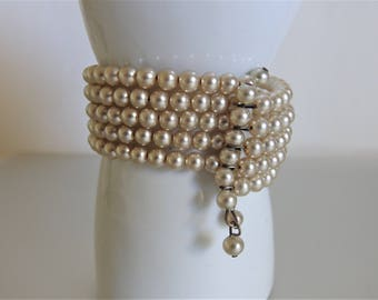 Vintage Glass Faux Pearl Wire Wrap Bracelet Jewelry   1940's Fashion Bracelet   Multi Strand Bracelet   Jewelry Gift for Her