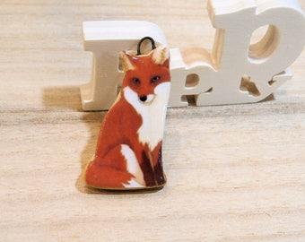 SUR COMMANDE renard... pendentif original automnal - fantaisie animalière -céramique artisanale