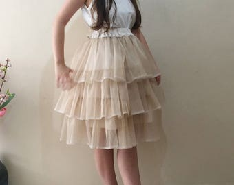 Tulle Skirt Layered Tutu Skirt, Beige Layered Puffy Tutu Boho Wedding Ruffle skirt, 3 layer Tan wedding skirt