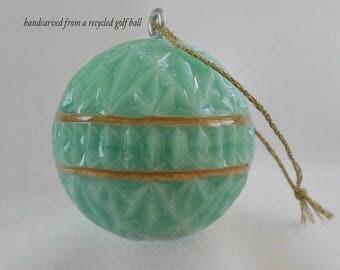 Christmas Ornament, Golf Gift For Golfer, Mint Green and Gold Christmas Ornament, Carved Golf Ball