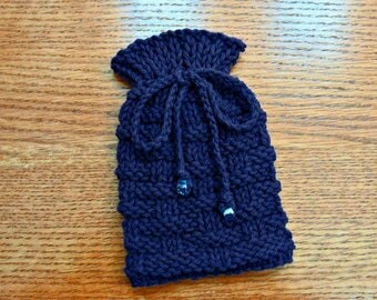 Small Drawstring Pouch, Small Knitted Bag, Gift Bag Pouch, Dice Bag, Amulet Bag, Little Drawstring Bag