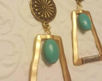 Greek Goddess Bronze Bohemian Indie Turquoise Howlite Dangle plugs Gauges 0g, 00g 7/16ths t24
