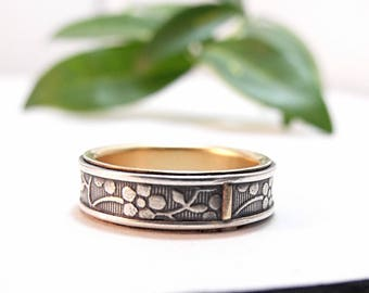 Sterling Silver Wedding Band Gold Wedding Band Womens Wedding Band Womens Wedding Ring Aloha Floral Ring - Size 5