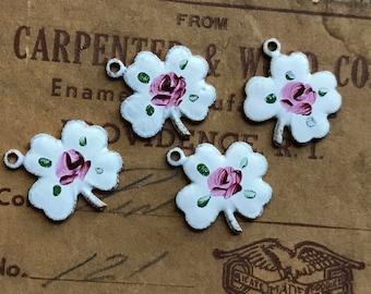 Enameled 4leaf clover Charms, Vintage four leaf clover Charms, St Patricks day charms, Irish Charms, Clover Charms, Floral Charms #633B