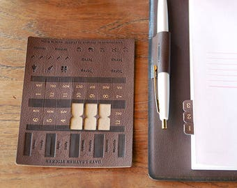 Leather Index Sticker in 6 colors -1 sheet -Days Leather Sticker