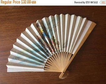 SUMMER SALE 1950s Double sided Paper Japanese Hand Fan with Geisha and Cat Motif