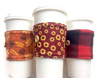 Coffee Cup Cozy, Mug Cozy, Coffee Cup Sleeve, Cup Cozy, Cup Sleeve, Reusable Coffee Sleeve - Autumn Acorns, Sunflowers, Plaid [101-103]