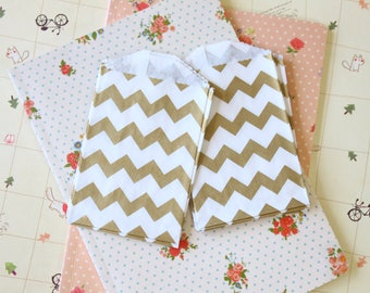 GOLD Chevron Itty Bitty Bags small paper bags