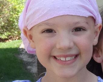 Girl's Alopecia Headband, Hair Loss Headscarf, Baby Pink Extra Wide Headband, Lightweight Head Wrap, Thin Cool Headwrap (#2719) S M L X