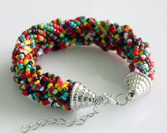 Multi Strand Bracelet - Summer Bracelet - Multi Color Bracelet - Teen Bracelet - Seed Beads Jewelry - Braided Bracelet - Beach Bracelet