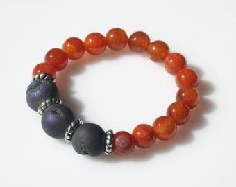 Crackle Agate and Druzy Stone Stretch Bracelet - Gemstone Bracelet - Fall Bracelet - Real Druzy Stone Bracelet - Crackle Agate Bracelet