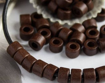 25%OFF 30 Mykonos Greek Ceramic bead Earthy Bitter Chocolate brown Mini Tube 6X4mm Beads Autumn colors craft jewelry supplies DIY
