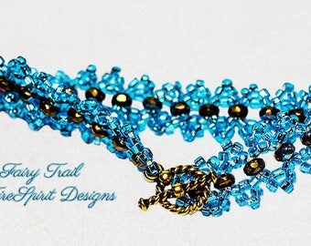 Beadwoven Bracelet- Fairy Trail- beadweaving- beadwoven jewelry- gift for her- OOAK bracelet- handmade bracelet- art to wear- wearable art
