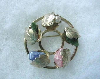 Lady Coventry Flowered Circle Gold tone pin brooch pink green rose quartz stones by Sarah Coventry