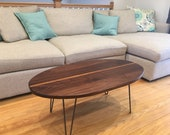 Solid Walnut Coffee Table with Zebrawood Stripe and Hairpin Legs