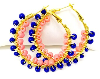 Beaded Hoop Earrings - Navy Blue Hoops - Beach Boho Jewelry - Tribal Ethnic Earrings - Gifts for Her - Colorful Hoop Earrings - Spring 2018
