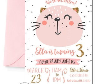 Kitty Birthday Invitation, Cat Invitation, Kitty Party Invitation, Cat Party Invitation, Pink and Gold, Gold Glitter, Printable, digitial