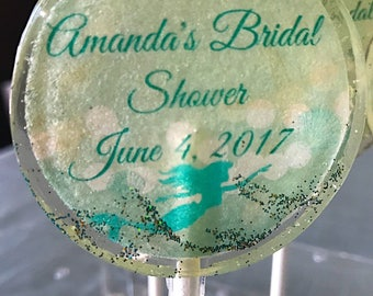 Mermaid Bridal Shower Lollipops- Bridal and Baby Shower Favors- Wedding Favors-Hard Candy Lollipops- Love Lollipops- Mermaid Party Favors