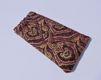 Eye Glass Case, Quilted Cotton Case, Flex Frame Case, Brown and Rose Floral
