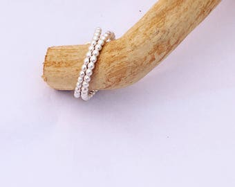 Sterling Silver Stacking Rings, handmade in UK, Bead Ring, Pinkie Knuckle Ring, Stackable Womens Jewellery,