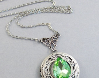 Victorian Peridot ,Peridot Necklace,Green Locket,Green,Peridot,Peridot Locket,Princess Cut.August Birthstone,Peridot Birthstone,Valleygirl