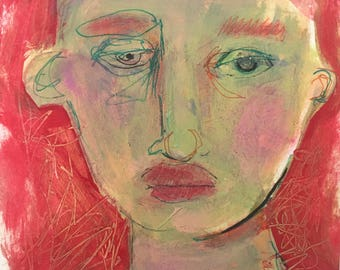 mixed media collage painting on paper original unframed green face