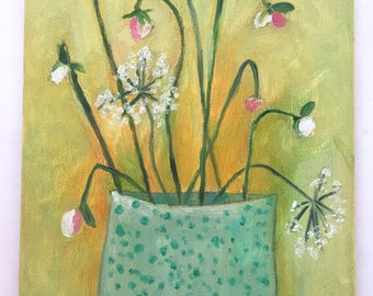 Oil Painting florals in vase ready to hang original expressionist