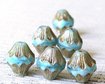 13x12mm Baroque Bicone - Czech Glass Beads - Jewelry Making Supply - Fluted Lantern -  Opaque Lt. Blue Picasso Beads - 10 Beads