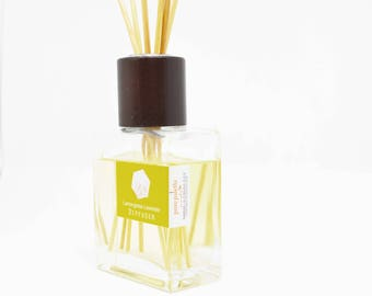Lemongrass Lavender Reed Diffuser Oil Home Fragrance Dorm Decor with Natural Undyed Reeds Set and Refill Oil