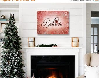 Wood Christmas Sign, Christmas Decor on Wood, Red Christmas Believe Wood Plank Art, Wood Panel Art, Ready to Hang Art, Red Holiday