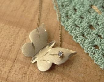 Vintage - Tiny Butterfly Necklace - 14K Gold Plate - Gold Cut Butterfly - Vintage Butterfly Necklace - PMJ Jewelry