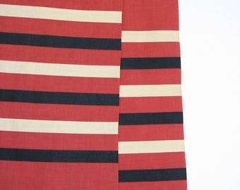 Mid century unisex scarf by Dominique France. Mens scarf, striped scarf, lightweight scarf, brick red, black, tan scaf, wowen stripes