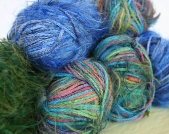 Lot of gorgeous Italian cotton blend yarn. Gedifra yarn, fuzzy yarn, green yarn, blue yarn, cool yarn, knitting yarn, high quality yarn